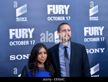 Washington, DC, USA. 15th Oct, 2014. Director David Ayer (R) attends the world premiere for his new movie 'Fury' - Stock Photo