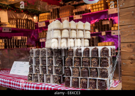 Food at Christmas Market in Paris - Stock Photo