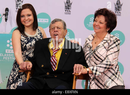 Jerry Lewis' Hand and Footprint Ceremony at TCL Chinese Theatre IMAX  Featuring: Jerry Lewis,Danielle Sarah Lewis,SanDee - Stock Photo