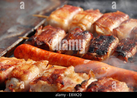 Meat on barbecue - Stock Photo