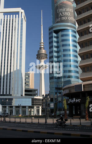 The Liberation Tower in Kuwait City, Kuwait - Stock Photo
