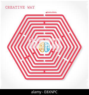 Creative hexagon maze way concept. Creative brain symbol  in the middle of hexagonal maze, education sign , business - Stock Photo