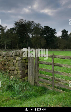 Close-up of closed wooden gate & rustic dry-stone boundary wall of farm pastureland field in scenic countryside - Stock Photo
