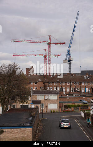 View over rooftops in city of York, North Yorkshire, England, UK - 3 enormous modern cranes tower over houses & - Stock Photo