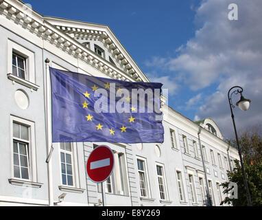 EU flag and do not enter road sign - Stock Photo