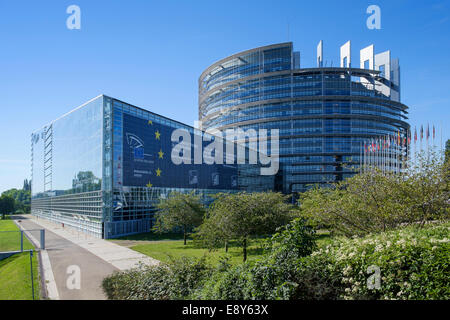 European Parliament building in Strasbourg, France, Europe - the Louise Weiss Building - Stock Photo