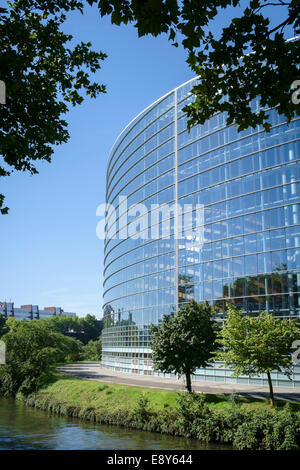 European Parliament building in Strasbourg, France, Europe - the Louise Weiss Building on the Ill River - Stock Photo