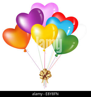 Bunch Of Colorful Heart Shape Balloons - Stock Photo