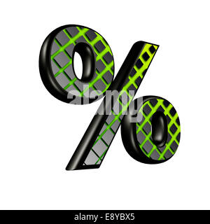 3d sign with green futuristic texture - percent