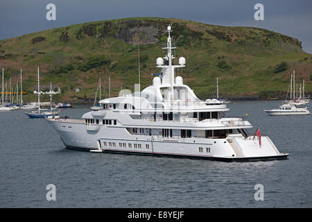 Luxury motor yacht Bloody Bay Oban harbour Isle of Mull Scotland - Stock Photo