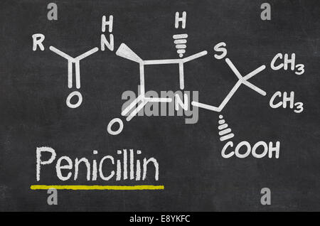 Blackboard with the chemical formula of Penicillin - Stock Photo