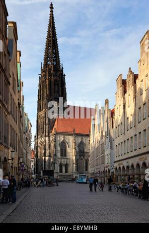 Prinzipalmarkt square with St. Lamberti church at Münster, Westphalia - Stock Photo