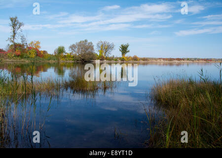 A view of a basin beside the entrance to the Soulange Canal. - Stock Photo