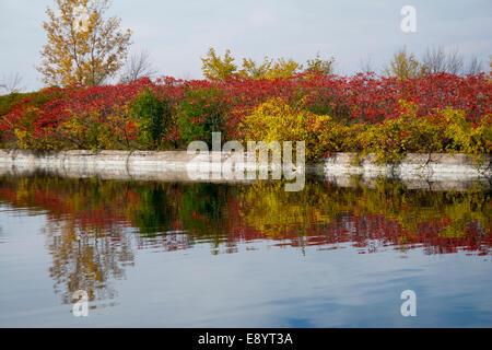 A view of the walls of the Soulange Canal. - Stock Photo