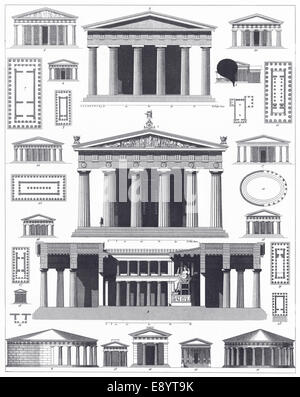 Engraved illustrations of Classical Greek Temples from Iconographic Encyclopedia of Science, Literature and Art, - Stock Photo