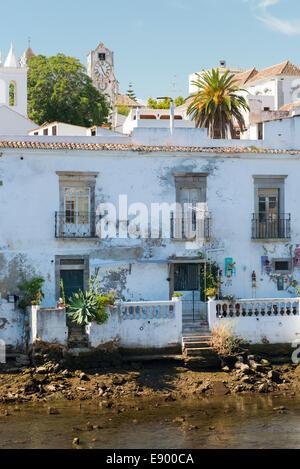 Portugal Algarve Tavira late Bronze Age port town rebuilt 18th century houses bank of Rio River Gilao - Stock Photo