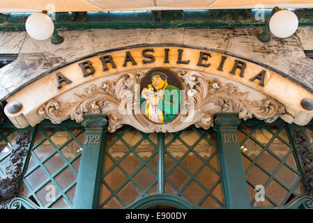Portugal Lisbon Baixa Chiado Rua Garrett Art Nouveau deco bar restaurant brasserie 1920's Cafe Brasileira old sign - Stock Photo