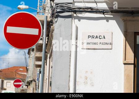 Portugal Algarve Tavira late Bronze Age market town port rebuilt 18th c century street sign signs Praca Dr Antonio - Stock Photo