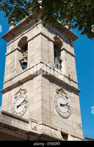 Portugal Sintra Igreja de Sao Martinho Praca da Republica parish church exterior bell + clock tower - Stock Photo