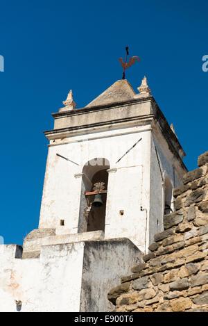 Portugal Algarve Tavira late Bronze Age port market town rebuilt 18th c century Church Igreja da of Santiago bell - Stock Photo
