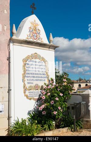 Portugal Algarve Tavira late Bronze Age port rebuilt 18th c century memorial fallen 1383 to 85 Civil War Portuguese - Stock Photo