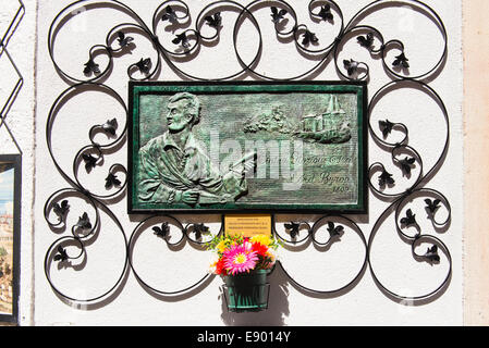 Portugal Sintra plaque commemorating Lord Byron's visit 1809 ' Cintra Glorious Eden ' dedicated 2013 - Stock Photo