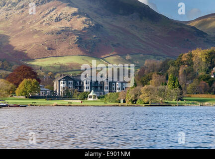 Inn on the Lake Hotel on the shores of Ullswater Lake in Glenridding, Lake District, Cumbria, England, UK - Stock Photo