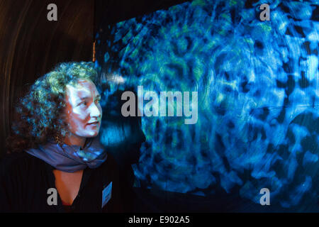 Kinetica Art Fair 2014 at the Old Truman Brewery, London. Cymatic Response by Rachael Linton. - Stock Photo