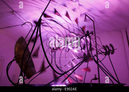 Kinetica Art Fair 2014 at the Old Truman Brewery, London. Artwork by Circus Kinetica. - Stock Photo