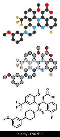 letermovir cytomegalovirus (CMV) drug molecule. Stylized 2D rendering and conventional skeletal formula. - Stock Photo