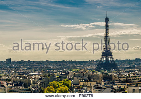 View of the Eiffel tower in Paris. Vintage effect - Stock Photo