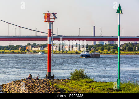 Europe's largest inland port, Duisburg Ruhrort, River Rhine, - Stock Photo
