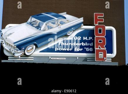 Billboard advertising Ford Thunderbird in 1956 - Stock Photo