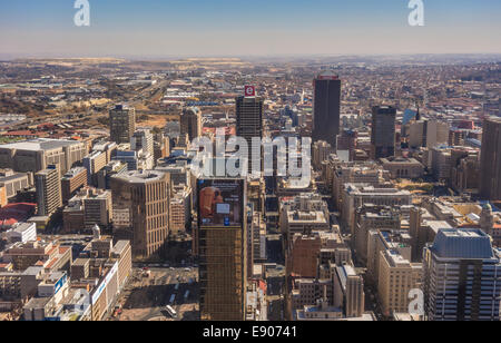JOHANNESBURG, SOUTH AFRICA - Skyscrapers and buildings in central business district. Aerial view to west from top Carlton Centre