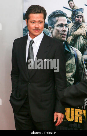 Washington, DC, USA. 15th Oct, 2014. Actor Brad Pitt attends the world premiere of 'The Fury' at the Newseum on - Stock Photo