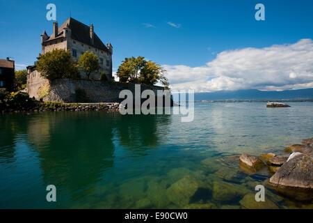 Lake Geneva Castle in Yvoire France - Stock Photo