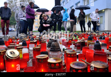 Prague, Czech Republic. 17th Oct, 2014. People lit candles near the high school where a woman stabbed and killed - Stock Photo
