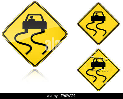 Variants a Slippery when wet - road sign - Stock Photo