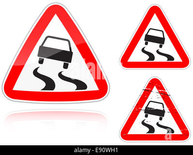 Variants a Slippery road - road sign - Stock Photo