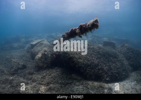 Photograph of the HMS Maori wreck parts outside Grand Harbor in Valletta, Malta, Mediterranean Sea. - Stock Photo