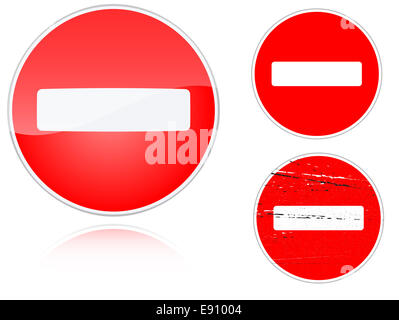 Set of variants no entry road sign - Stock Photo