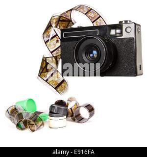 Old camera isolated on white background - Stock Photo
