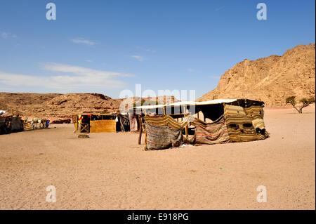 Bedouin Arab camp in desert of south Sinai Peninsula between Dahab and Nuweiba near Wadi Meghesa, Egypt - Stock Photo