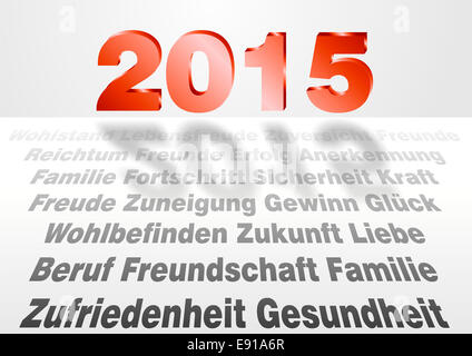 word cloud in german language for good year 2015 - Stock Photo