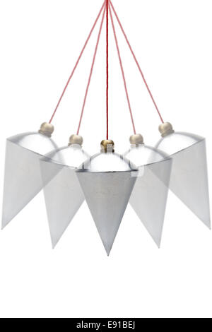 Plumb bob in motion on white background - Stock Photo