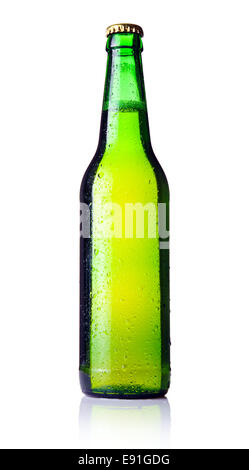 Green bottle of beer isolated on white - Stock Photo