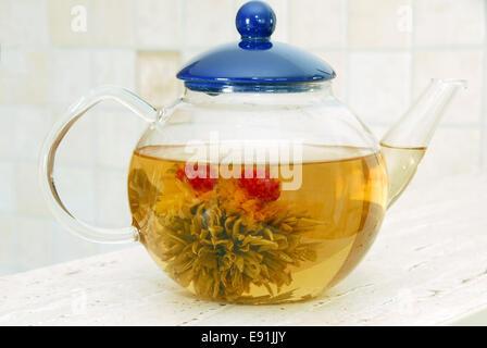 Flower tea in glass pot - Stock Photo