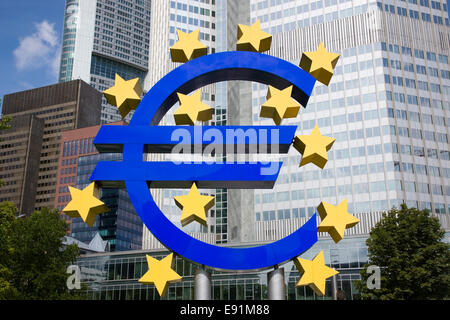 Frankfurt am Main, Hesse, Germany. Giant euro sign beneath the European Central Bank headquarters in Willy-Brand - Stock Photo
