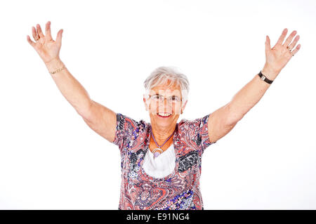 lucky senior woman - Stock Photo