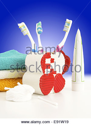 Hygienic accessories on a color background - Stock Photo